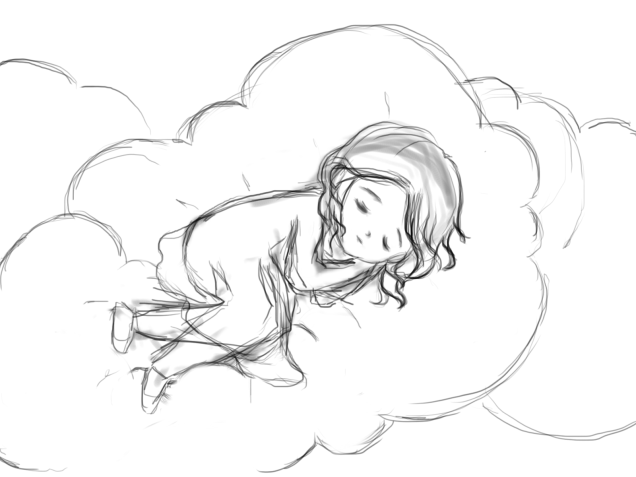 Sleeping on the sky - old sketch, but not finished yet.